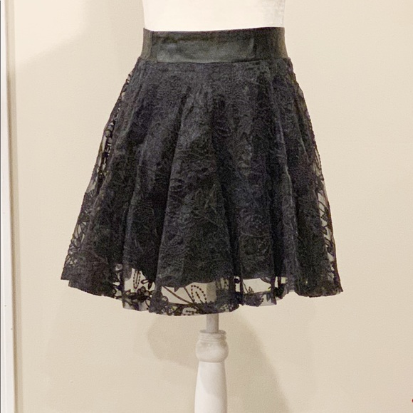 Minkpink Leather And Lace Flair Mini Skirt